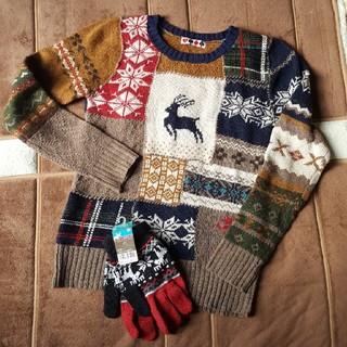 ノルディック柄のセーターと手袋(ニット/セーター)