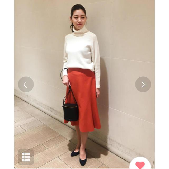 TOMORROWLAND(トゥモローランド)の美品 ボールジー ウール スカート オレンジ レディースのスカート(ひざ丈スカート)の商品写真