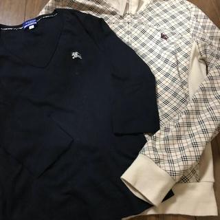 バーバリーブルーレーベル(BURBERRY BLUE LABEL)の黒色7部袖Tシャツとカットソーの上着です。(Tシャツ(長袖/七分))