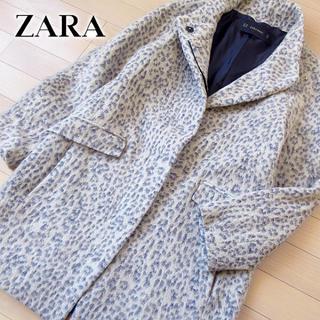 ザラ(ZARA)の美品 (EUR)XS ザラ ZARA Basic レディース レオパード柄コート(チェスターコート)