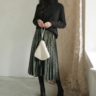 dholic - DHOLIC  ドットベロアプリーツスカート