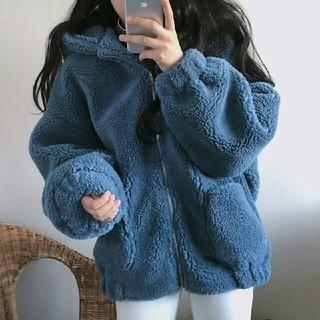 新作 ブルー 冬作 韓国 ふわふわ ボアジャケット ブルゾン