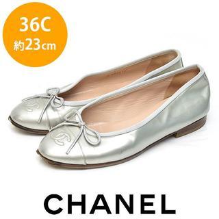 CHANEL - シャネル ココマーク リボン バレエシューズ フラットパンプス 36C(約23