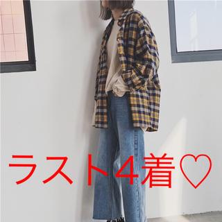 ラスト4点♡新品♡ロングチェックシャツ アメカジ オルチャン 韓国 おまけ付き♡(シャツ/ブラウス(長袖/七分))