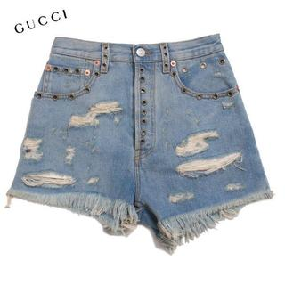 グッチ(Gucci)のGUCCI クラッシュデニムショートパンツ size22  グッチ(デニム/ジーンズ)