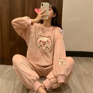 新作  可愛い サンゴフリース 動物柄  袖刺繍パジャマ  上下セット ピンク