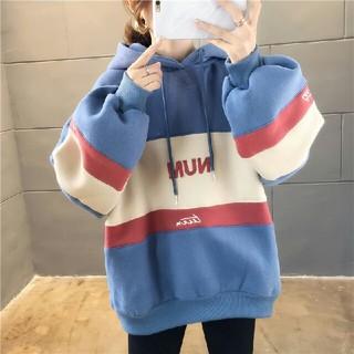 新作 レディース  韓国 裹起毛  配色  フード付きパーカー ブルー