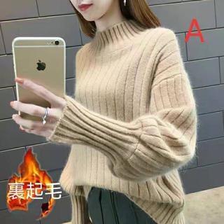 LAUA163秋冬レディース 裏起毛厚手 ニット セーター(6色S-3XL)(ニット/セーター)