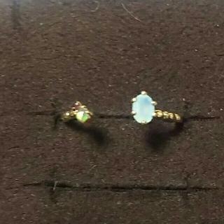 miroir フォークリング オパールとブルーの天然石(リング(指輪))