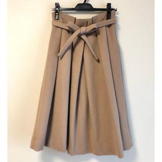 イエナスローブ(IENA SLOBE)のiena   slobe ウエスト リボン スカート ベージュ 38(ひざ丈スカート)