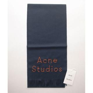 ACNE - acne アクネ■skinny マフラー dark blue 18AW