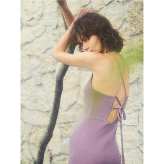 Rosary moon - ロザリームーン Back Open Rib Dress
