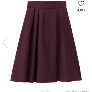 ジーユー(GU)のGU ラップフレアスカート パープル(ひざ丈スカート)