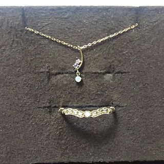 miroir オパール ダイヤ リングとネックレスセット