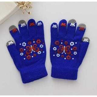 手袋 グローブ スマホ タブレット タッチパネル 防寒 蝶々 ネイビーブルー(手袋)