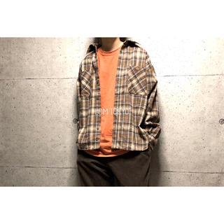 L ブラウン  ダブルポケット チェック柄 シャツ ネルシャツ 秋冬 メンズ(シャツ)