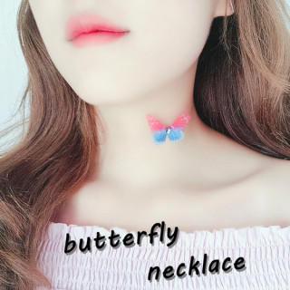 【ブルー×ピンク】バタフライ チョーカー ネックレス ゆめかわ 蝶 原宿 夢 闇(ネックレス)