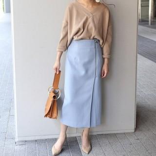 Noble - NOBLE ノーブル PE/RY/W ジップタイトスカート サックスブルー36