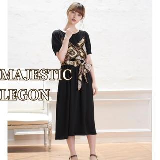 マジェスティックレゴン(MAJESTIC LEGON)のmajesticlegon スカーフデザイン ロングワンピース   とろみ素材(ロングワンピース/マキシワンピース)