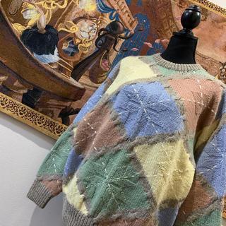 ザラ(ZARA)の新品未使用 レトロ ビンテージ くすみカラー アーガイルチェック ニットセーター(ニット/セーター)