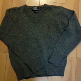 POLO RALPH LAUREN - 140cm ウール Vネックセーター スクールセーター 毛 グレー