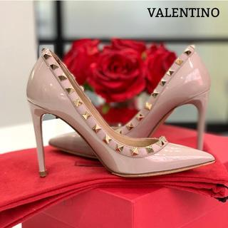 VALENTINO - 1222 美品 ヴァレンティノ ロックスタッズ パンプス ピンクベージュ