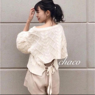 who's who Chico - 五分袖ボリュームスリーブケーブルニット★who's who Chico