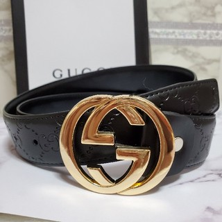 Gucci - ダブルGゴールドバックルレザーベルトブラックGUCCIグッチノベルティーGG柄