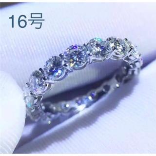 新品16号フルエタニティリング指輪高級 5ACZダイヤモンドシルバー925 (リング(指輪))