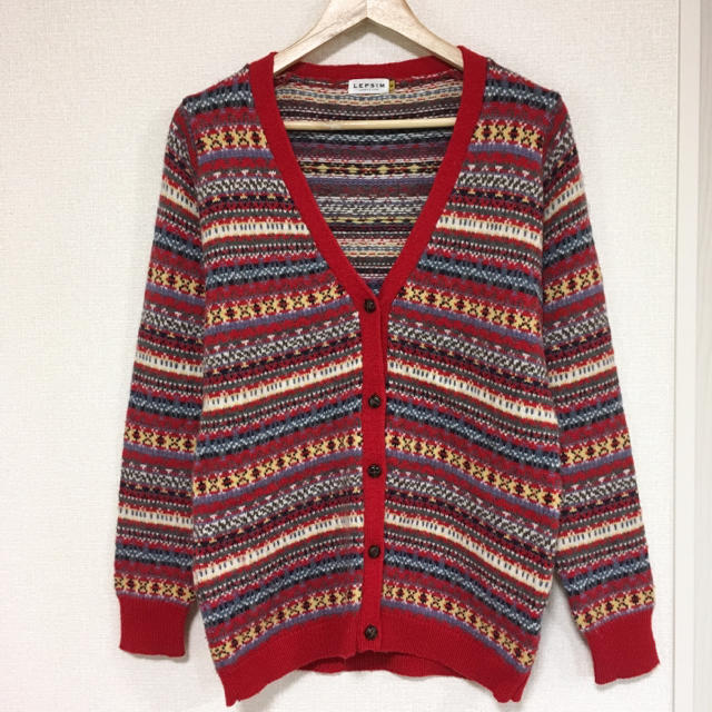 LEPSIM(レプシィム)のLEPSIM 赤 セーターカーディガン♪ レディースのトップス(カーディガン)の商品写真