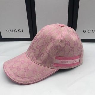 Gucci - GUCCIグッチGG柄キャップピンクロゴサテン新品レディース帽子
