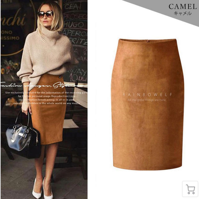 ZARA(ザラ)の韓国購入 スウェードスカート キャメル レディースのスカート(ひざ丈スカート)の商品写真
