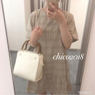 who's who Chico - チェック裾ぺプラムワンピース