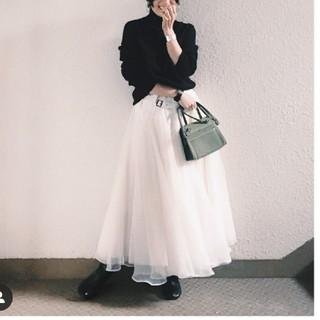 ラベルエチュード(la belle Etude)のSOLDOUT ベルトデニムドッキングチュールスカート(ロングスカート)