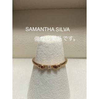 サマンサシルヴァ(Samantha Silva)のピンキーリング  リボン K10ダイヤ0.01 美品(リング(指輪))