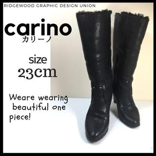 カリーノ carino ショート ブーツ 23cm 黒 ヒール 忘年会(ブーツ)