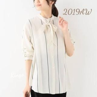 IENA - 【2019AW】ストライプボウタイシャツ◆ナチュラル/size 38