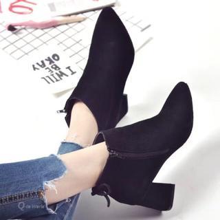 ショートブーツ 韓国ファッション スエード調 プチプラ ブーティ ブラック(ブーティ)