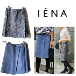 IENA - IENA/ウールリバーシブルスカート ブルー×グレーチェック
