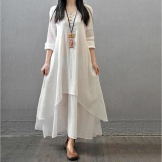 【長袖ワンピース】ホワイト しじら織り調 2XL Size(ロングワンピース/マキシワンピース)