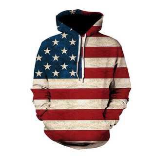 【ユニセックス♡】アメリカン好きな方に♡個性的3Dアメリカ星条旗パーカー