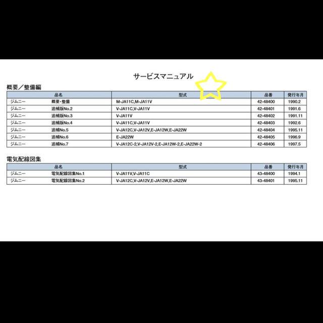 スズキ(スズキ)のジムニーJA11整備要領書・電気配線図サービスマニュアル 自動車/バイクの自動車(カタログ/マニュアル)の商品写真