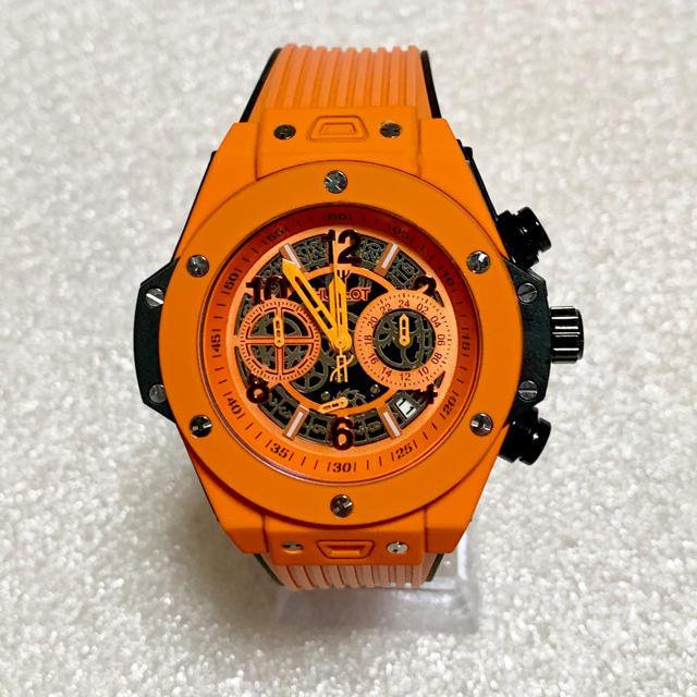 スーパーコピー ルイヴィトン 時計 007 - ウブロ オマージュウォッチ スポーツ メンズ腕時計・orange how130の通販 by ヒロ's shop