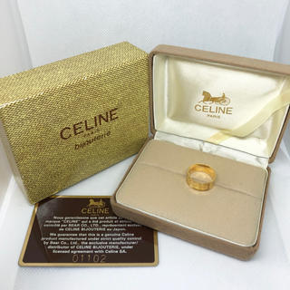celine - 最終価格 セリーヌ K18 ワイドロゴ ゴールドリング ヴィンテージ レア