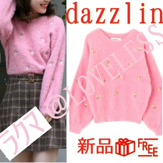 dazzlin - ダズリン 花柄 刺繍 モヘア ニット セーター ピンク
