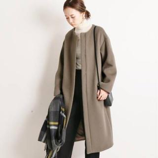 IENA - 新品◆グレー◆サイズ36◆ラムウールノーカラーロングコート◆