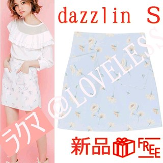dazzlin - ダズリン 花柄 ミニスカート Sサイズ ブルー 水色