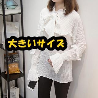 【即購入OK】大きいサイズ フリル透け感トップス (シャツ/ブラウス(長袖/七分))