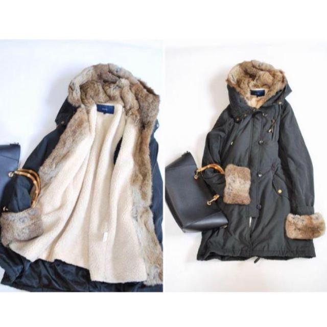 SHIPS(シップス)のSHIPS for women ラビットファーモッズコート レディースのジャケット/アウター(モッズコート)の商品写真
