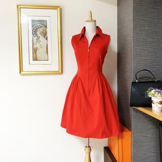 FOXEY - 美品 フォクシー フィット&フレアー  レッド ワンピース ドレス